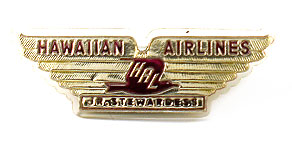 Hawaiian Airlines Jr. Stewardess Wings