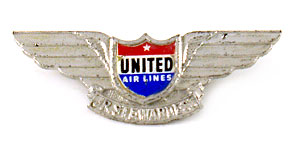 United Airlines Arlene Airess Junior Stewardess Club Wings