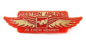 Western Airlines Jr. Crew Member Wings