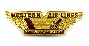 Western Airlines Jr. Stewardess Wings