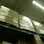 Boxes in the kitchen's expansive warehouse.