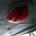 Navigation light on the belly of a jet