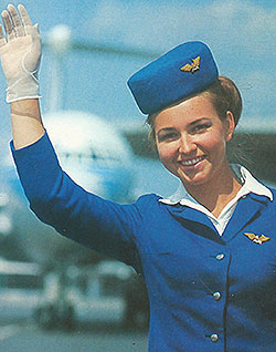 Photograph of an Aeroflot stewardess, 1969