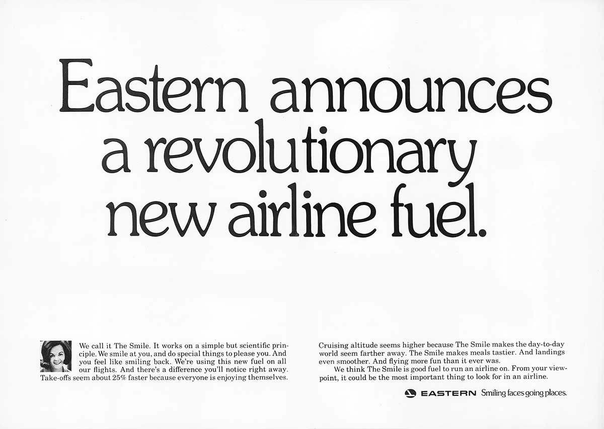 Eastern announces a revolutionary new airline fuel.