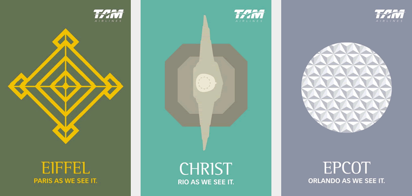 Three posters for TAM Airlines