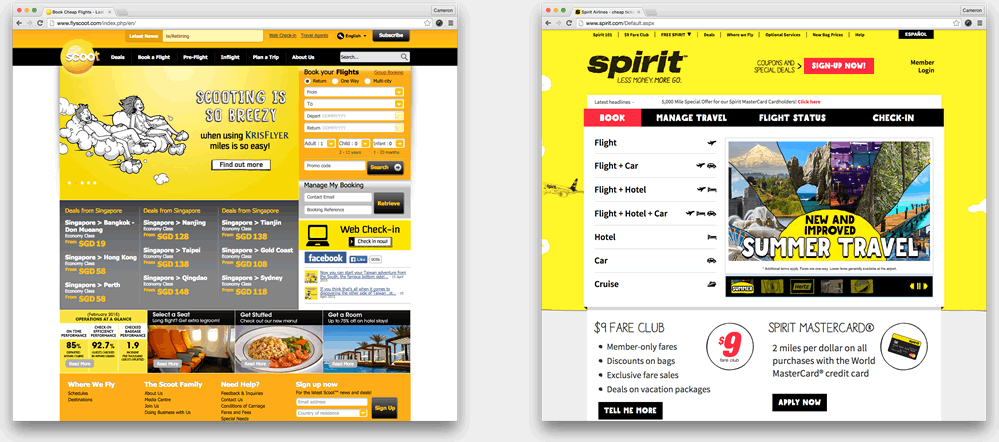 Comparison of Scoot and Spirit sites