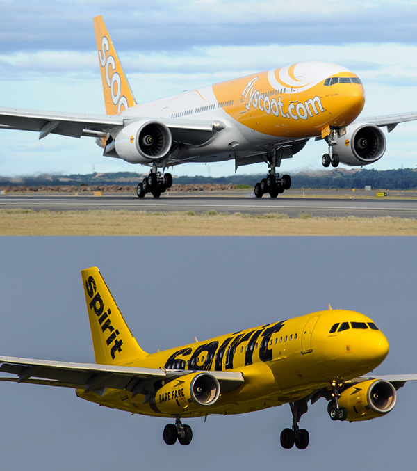Comparison of Scoot and Spirit Airlines liveries