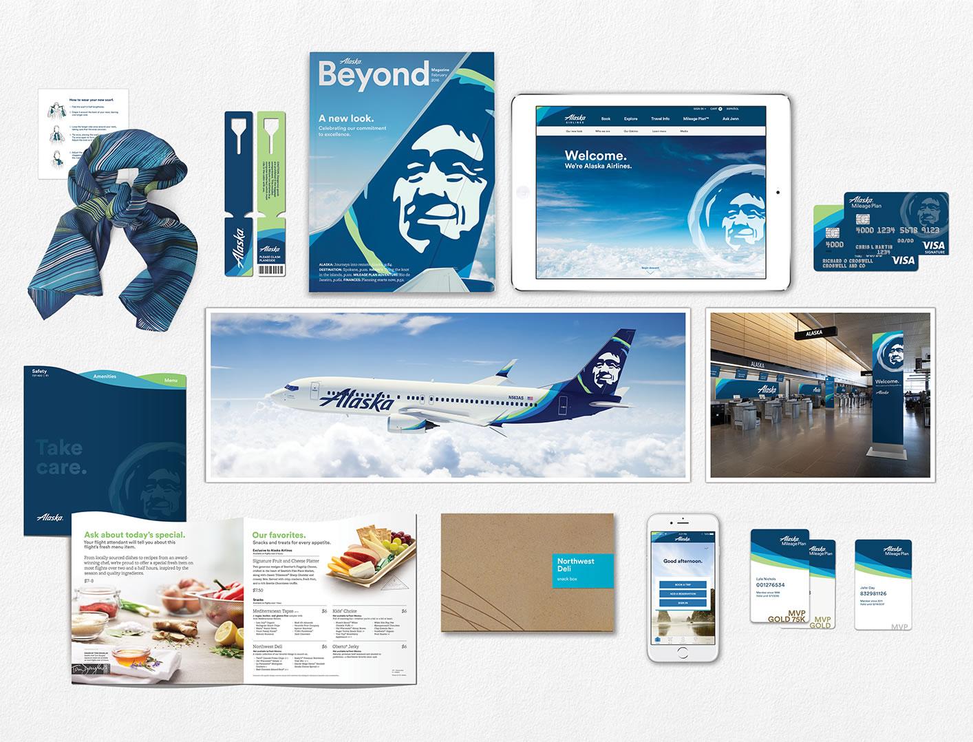 An assortment of communications showing Alaska's new brand